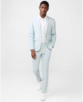 Express Extra Slim Light Blue Stretch Linen-Wool Suit Pant