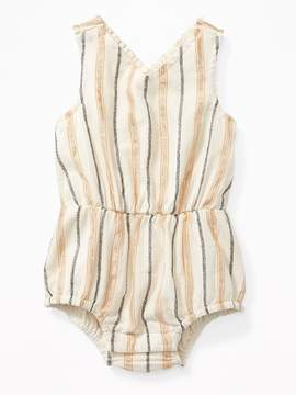 Old Navy Metallic-Stripe V-Neck Bubble One-Piece for Baby