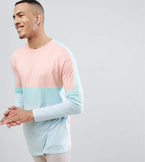 Asos DESIGN Tall relaxed longline long sleeve t-shirt in pastel color block