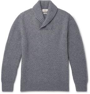 Hackett Shawl-Collar Textured Wool, Cashmere And Yak-Blend Sweater