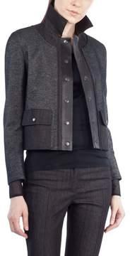 Akris Punto Leather Trim Crop Denim Jacket