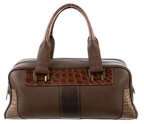 VBH Crocodile-Trimmed Leather Handle Bag