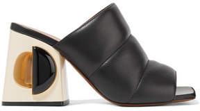 Marni Quilted Leather Mules - Black