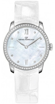 Girard Perregaux 1966 Automatic Mother of Pearl Dial Diamond White Leather Ladies Watch