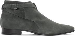 Saint Laurent Grey Suede London Jodhpur Boots