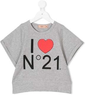 No.21 Kids Marled logo print T-shirt