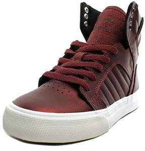 Supra Skytop Youth Leather Burgundy Fashion Sneakers.