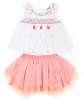 Little Lass Little Girls' 4-6X Tassel Gauze Top and Sparkle Tulle Skirt 2-Piece Set