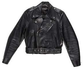 Balenciaga 2017 Cropped Leather Moto Jacket