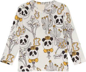 Mini Rodini Black White and Yellow Panda Print Salvador T-Shirt