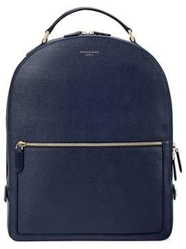 Aspinal of London Large Mount Street Backpack In Navy Saffiano