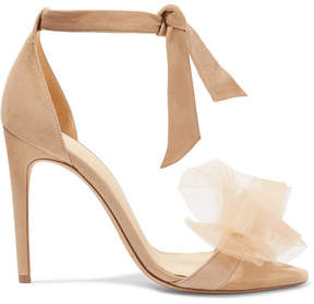Alexandre Birman Clarita Bow-embellished Suede And Tulle Sandals - Beige