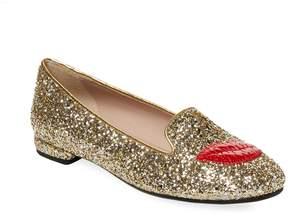 Chiara Ferragni Women's Lipstick Graphic Glitter Loafer