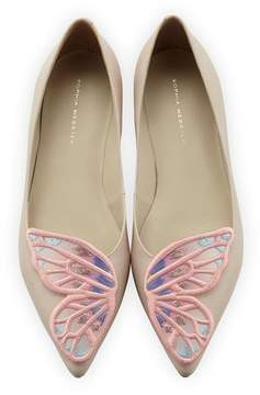 Sophia Webster Bibi Butterfly Embroidered Flat, Nude