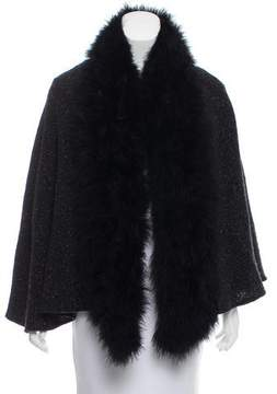 Ralph Lauren Feather-Trimmed Knit Shawl
