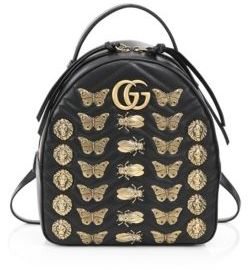 Gucci Metal Mix GG Marmont Leather Backpack - BLACK - STYLE