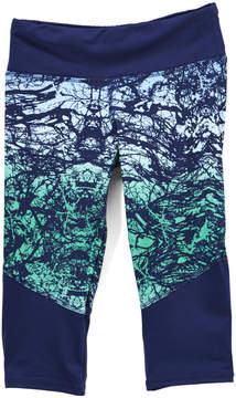 Gaiam Indigo Abstract Lotus Chibori Capri Leggings - Girls
