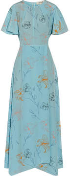 Diane von Furstenberg Floral-print Silk Crepe De Chine Maxi Dress - Light blue