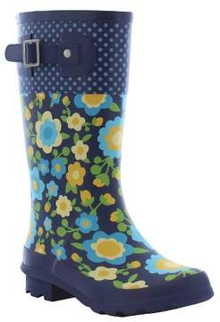 Western Chief Girls' Top Pop Retro Floral Matte Rain Boots - Navy