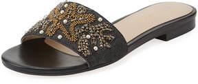 Andre Assous Karina Embroidered Denim Flat Slide Sandal