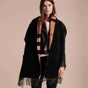 Burberry Check Lined Wool Cashmere Stole