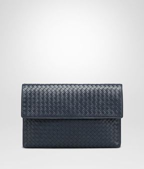 Bottega Veneta Denim Intrecciato Document Case