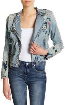 Blank NYC BLANKNYC Studded & Embroidered Denim Jacket
