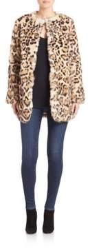 Adrienne Landau Leopard-Print Rabbit Fur Coat