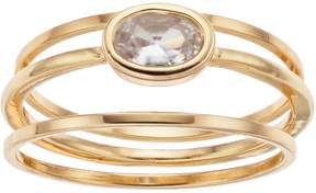 Lauren Conrad Bezel Simulated Crystal Ring Set