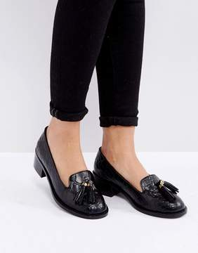 Park Lane Leather Croc Tassel Heeled Loafers