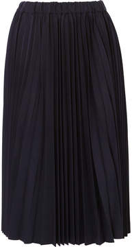 Comme des Garcons Pleated Wool-twill Skirt - Navy