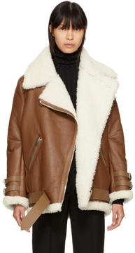 Acne Studios Brown Shearling Velocite Jacket