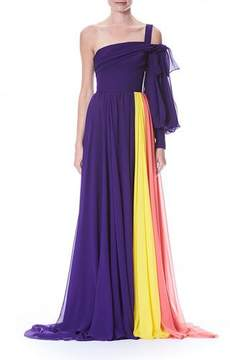 Carolina Herrera One-Sleeve Colorblocked Draped Chiffon Evening Gown