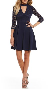 B. Darlin Choker Neck Lace Bodice Fit-And-Flare Dress