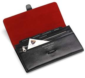 Aspinal of London Classic Travel Wallet In Jet Black Lizard Red Suede