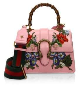 Gucci Dionysus Embroidered Leather Top Handle Bag - PINK-MULTI - STYLE
