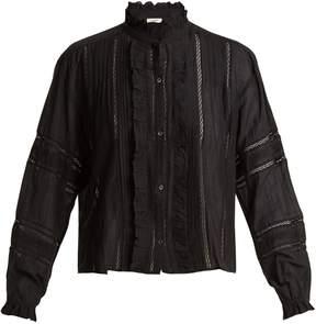 Etoile Isabel Marant Valda lace-trimmed cotton-blend blouse