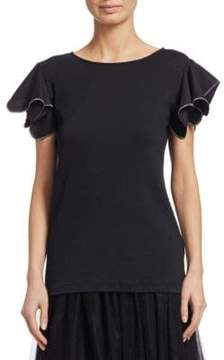 Fabiana Filippi Jersey Top with Beaded Flutter Sleeve