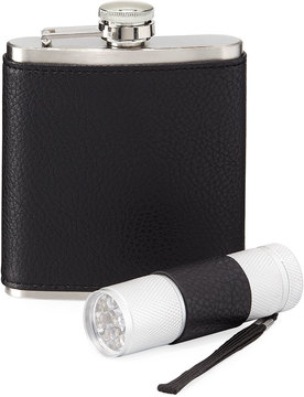 Neiman Marcus Stainless Steel Flask and Flashlight Set