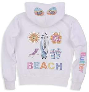 Butter Shoes Girls' Embellished Beach Surf Fleece Hoodie - Little Kid