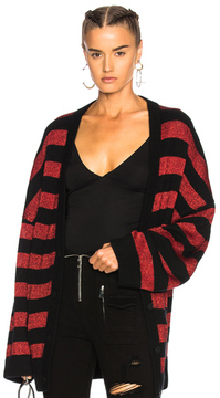 RtA Odella Cardigan in Black,Metallics,Red,Stripes.