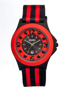 Crayo Womens Carnival Red & Black Nylon-Strap Watch With Date Cracr0701