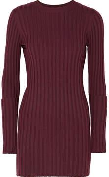 Joseph Zip-embellished Ribbed Wool Tunic - Burgundy