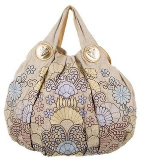 Gucci Canvas Embroidered Hysteria Tote - NEUTRALS - STYLE