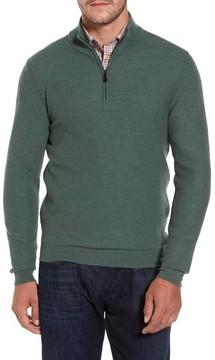 David Donahue Men's Honeycomb Quarter Zip Sweater