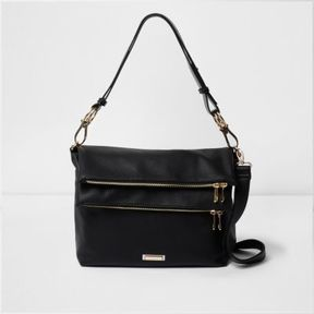 River Island Womens Black double zip pocket slouch messenger bag