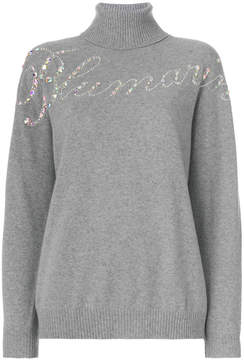 Blumarine embellished slogan front turtleneck sweater