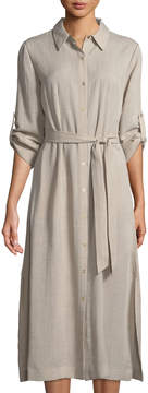T Tahari Button-Down Collared Dress w/ Self-Tie Waist
