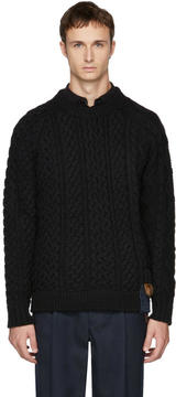 Kolor Black Cable Knit Wool Sweater