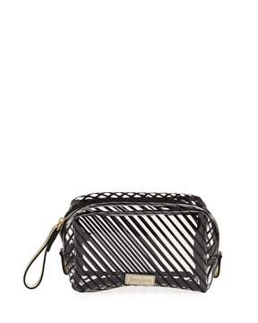 Neiman Marcus Striped Transparent Toiletry Bag, Clear